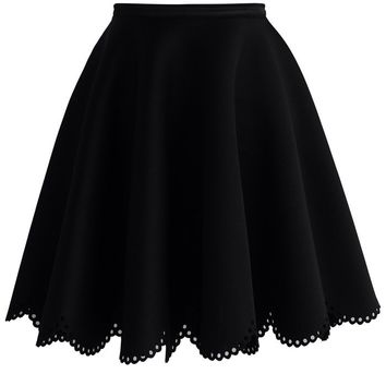Petal Airy Skater Skirt in Black