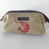Men's Canvas Shave Kit Bag with Monogram and Hand Painted Shrimp