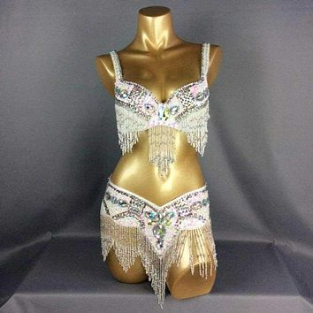 FREE SHIPPING Hand Beaded Belly Dance Samba Costume white color bra belt 2pcs tf1618 Macchar Cosplay Catalogue