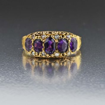 Antique Pearl & Amethyst Five Stone Band Ring 1850s