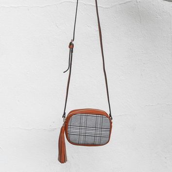 Your Thoughts Plaid and Brown Faux Leather Crossbody Purse