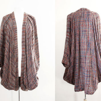 Vintage Boho Chic Woven Oversized Sweater / Cardigan with Dolman Sleeves - One Size Fits All