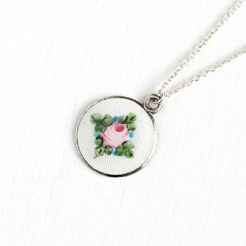 Vintage Sterling Silver Guilloche Enamel Rose Flower Pendant Necklace - Antique Art Deco 1920s Floral White & Pink Round Small Charm Jewelry