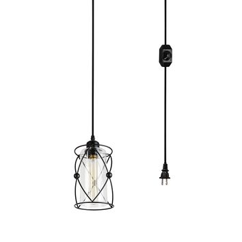 Creatgeek Plug-In Modern Industrial Glass Pendant Light with 15' Cord and In-Line On/Off Dimmer Switch,Black Finish Cylinder Style