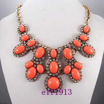J. Crew Style Inspired Rhinestone Flower Bubble  Necklace ,Statement Necklace,Crystal necklace ,bridesmaid gifts, bib necklace / Coral