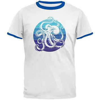 Kraken Octopus Ocean Retro Sunset Circle Mens Ringer T Shirt