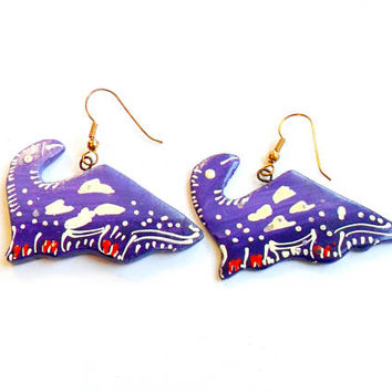 Vintage Purple Dinosaur Earrings - Hand Painted - Thailand Painted Earrings - French Wire Pierced - Deadstock NWOT - Unique Wood Earrings