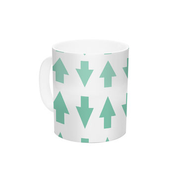 """Project M """"Arrows Up and Down Mint"""" Ceramic Coffee Mug"""