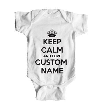 Keep Calm And Love Custom Name Baby Onesuit