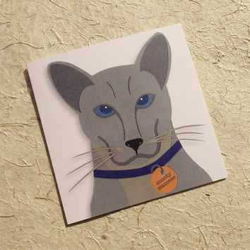 Cat card, cute-as-a-button grey siamese cat notecard for the pet lover in your life, blank greeting card