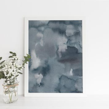 Dark Blue Indigo + Silver Watercolor Original Modern Painting Art Print