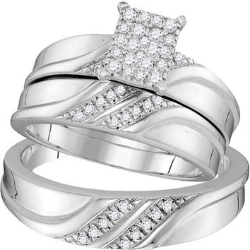 10k White Gold Diamond Cluster Matching Trio His & Hers Wedding Engagement Ring Band Set 1/3 Cttw
