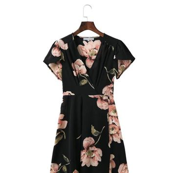 SIMPLE PLEASURES FLORAL V NECK DRESS