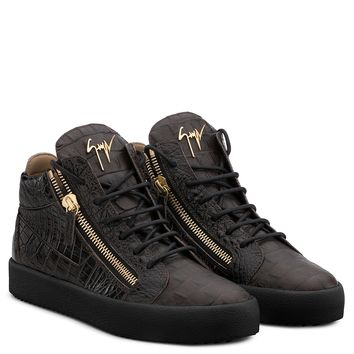Giuseppe Zanotti Gz Kriss Brown Crocodile-embossed Leather Sneaker