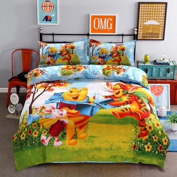 Disney Cartoon Winnie Tiger Children Bedding Set ,Duvet Cover/Flat Sheet/Pillow Cases.Bed Linen for Children Bedroom Decor