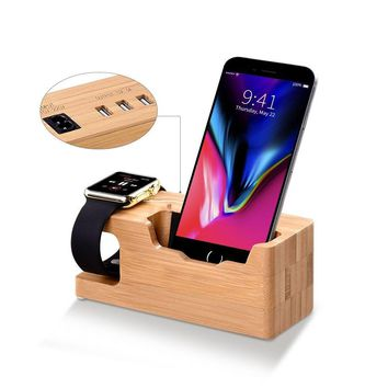 Apple Watch Stand, T-CORE Bamboo Wood Charging Stand Bracket Docking Station Cradle Holder W Business Card Slot Phone Stand for iPhone X 8 7 6 Plus 5 5c and Apple Watch 38mm/42mm