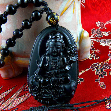 Kannon Guan Yin Buddha Obsidian Pendant with Adjustable Beaded Necklace