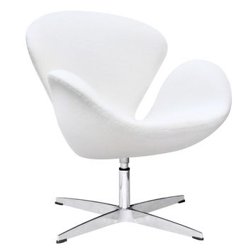 Swan Swivel Chair Fabric, White