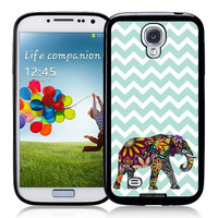 Floral Elephant On Mint Chevron Samsung S4 i9500 Case - For Samsung Galaxy S4 i9500
