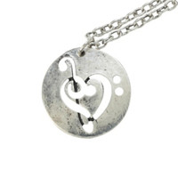 LOVEsick Music Clef Heart Necklace