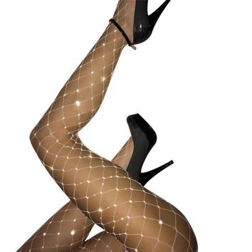 2017  Fishnet Elastic Stockings Big Fish Net Tights Pantyhose New Summer Hot Women Rhinestone