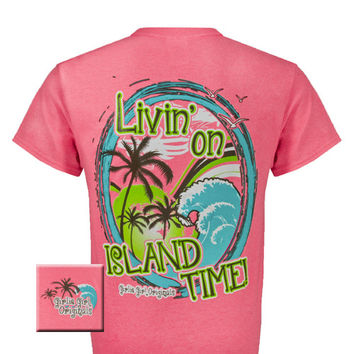 Girlie Girl Originals Livin' on island time Summer Pink Bright T Shirt