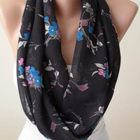 New Gift Scarf - Black Infinity Scarf with Pink and Blue Flowers-  Chiffon Fabric