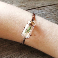 Bracelet - Baby Tree in Miniature Jar on Leather Cord