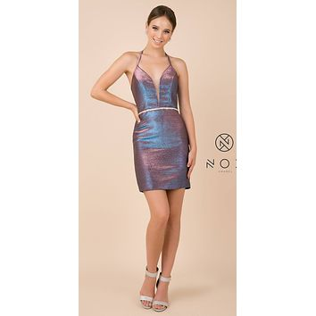 Shimmering Lace-Up Back Short Party Dress Metallic Purple