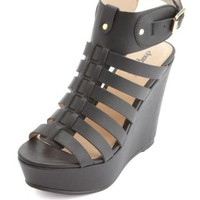 Strappy Platform Gladiator Wedge Sandals by Charlotte Russe - Black