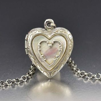 Vintage Mother of Pearl Silver Heart Locket Pendant Necklace