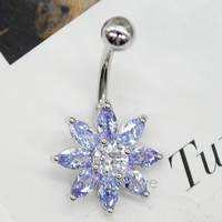 Women Surgical Steel Flower Crystal Navel Belly Ring Button Bar Body Piercing Jewelry
