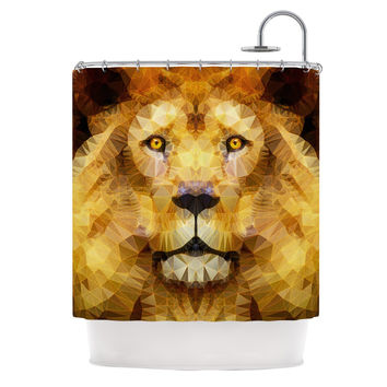 "Ancello ""Lion King"" Yellow Brown Shower Curtain"