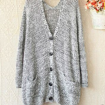 DCCKJ1A SPELL TO LOOSE V-NECK LONG SLEEVE KNIT SWEATER CARDIGAN