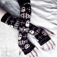 Terra Nox Arm Warmers - Black w/ Tan Tribal Skulls - Yoga Gothic Unisex Hooping Bellydance Vampire Cycling Fetish Victorian Lolita Goth