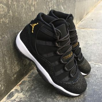 2017 New Air Jordan Retro 11 shoe PRM Heiress Black Mens Basketball Shoes Golden Retros 11s men womens Sports Sneakers US 5-13 With box
