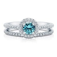 Aquamarine CZ 925 Sterling Silver 2-Pc Halo Wedding Ring Set 0.46 Ct #r766-aq