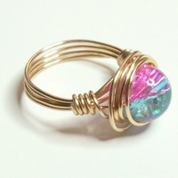 Pink  Blue Crackle Gold Wire Wrapped Ring