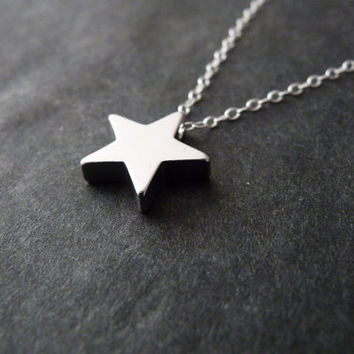 Silver star necklace with Sterling silver chain, Initial optional, Make a wish, Follow your dreams