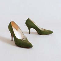 Vintage 1960s Moss Green Martinique Shoes