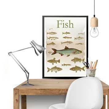 Fish Print, Fish Art, Fish Poster, Retro Art Print, Retro Artwork, Retro Poster, Graphic Art, Living Room Art, Vintage Art, 8'' x 11.5''
