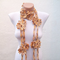 Handmade crochet Lariat Scarf  Yellow Brown Flower Lariat Scarf Colorful Variegated Long Necklace Winter Fashion