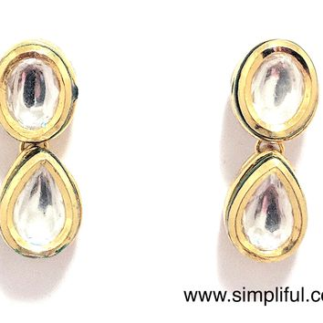 Oval Teardrop Kundan Earring