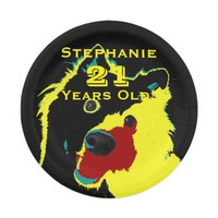 Happy Yellow Dog Paper Plates, 21st Birthday Party Paper Plate