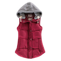 Spring Winter Solid Women Basic Coats Sexy All-match Cotton Vest Patchwork Sleeveless Hooded Collar Casual Colete Down Jacket