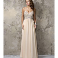 Nina Canacci 1236 Champagne Chiffon V-Neck Embellished Long Dress 2016 Prom Dresses