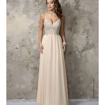 Nina Canacci 1236 Champagne Chiffon V Neck Embellished Long Dress 2016 Prom Dresses
