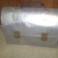 Vintage 1950s Silver Metal Rustic Dome Shape Aladdin Lunchbox