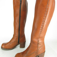 Vintage Womens Town & Country Copper Leather Knee High Chunky Heel Zip Up Fashion Boots Sz 7 1/2 B