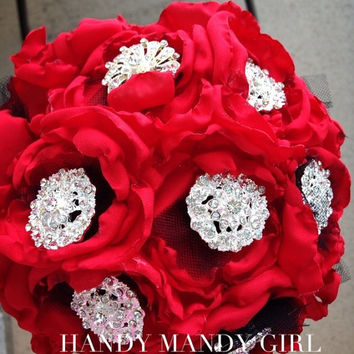 Gorgeous Red poppy elegant Brooch Bouquet